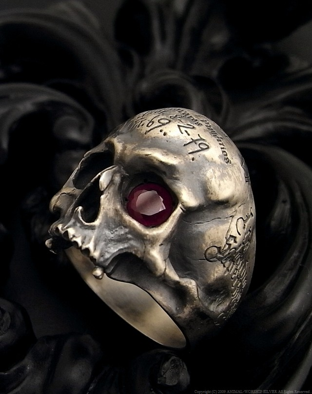 Mement Skull Ring Ruby Custom